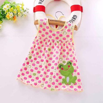 FHADST New 2017 Baby Girls Dress Newborn Fashion Summer Dresses Regular Sleeveless Knee-Length Infant O-Neck Cute Cotton Clothes