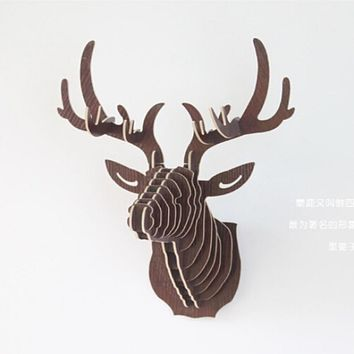 3D Puzzle Wooden DIY Creative Model Wall Hanging Deer Head Elk Wood Gift Craft Home Decoration Animal Wildlife IC971263