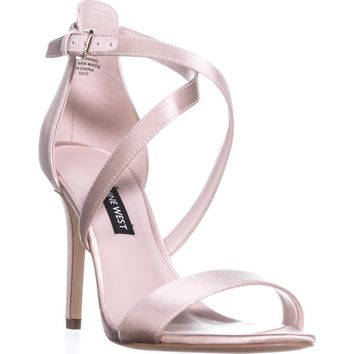 Nine West Mydebut Dress Heel Sandals, Light Natural Satin, 9 US