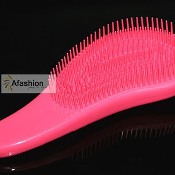 1pc pink Detangling brush brazilian extension human hair wig tangle Brushes Comb styling tools Free shipping