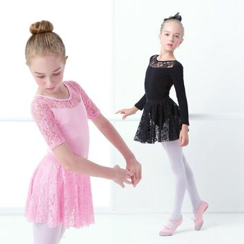 Pink Gymnastics Ballet Dress Leotards Toddler Girls Dance Costumes Lace&Cotton Ballet Dancewear Swim Wear