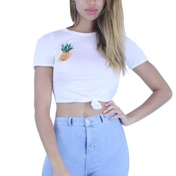 DD514 Pineapple Print Round Neck Short Sleeves Knotted Crop Top
