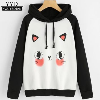 Sudaderas Mujer invierno 2017 Womens Cute Cat Print Hoodie Sweatshirts Casual Loose Jumper Pullover Tops Ropa Mujer #1108