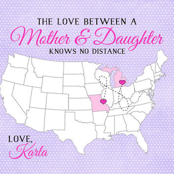 Mother's Day Gift, Custom Map - 8x10 Art Print, Mom or Grandma Long Distance Print Custom Gift Family, Sister, Daughter, Personalized Map