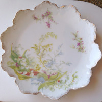 """Rosenthal Lily of the Valley Tea Plate - 6""""  Malmaison RC Germany - white gold pink green - early - dessert lilies bridal wedding pair"""