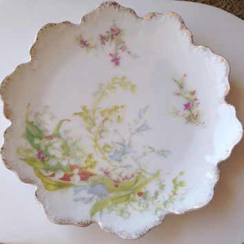 "Rosenthal Lily of the Valley Tea Plate - 6""  Malmaison RC Germany - white gold pink green - early - dessert lilies bridal wedding pair"