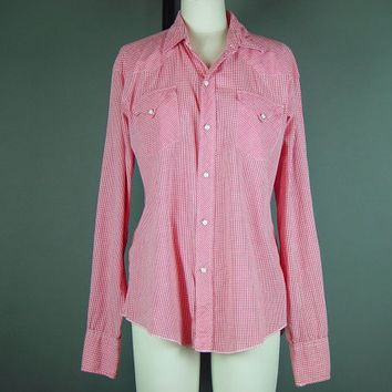"50s Western Pearl Snap Shirt Vintage 1950s H Bar C Ranchwear Mens Red White Gingham Country As Is Chest 46"" 2XL"