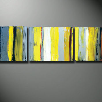 yellow canvas art, gray and yellow art, yellow art, yellow Original LARGE Painting 60 Abstract silver gray heavy texture canvas Yellow wall