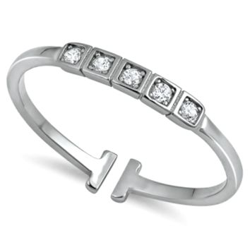 .925 Sterling Silver Princess Cut Tiled Ladies Ring size 3-11 Midi Thumb Toe