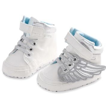 Lovely Newborn Baby Boys Gril PU Leather Infant Toddler Angel Wings Cotton Padded Shoes