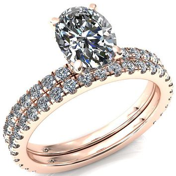 Sicili Oval Moissanite 4 Prong Micro Pave Diamond Sides Engagement Ring
