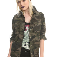 Destructed Grommet Camo Girls Jacket