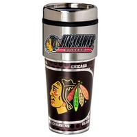 Chicago Blackhawks Stainless Steel Metallic Travel Tumbler (Hwk Team)