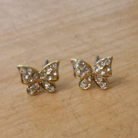 Gold Butterfly Earrings - Rhinestone Butterfly Earrings