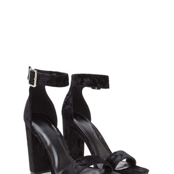 Full Crush Strappy Velvet Heels