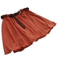 WHATWEARS Orange Girls Pleated Floral Chiffon Mini Skirt with Belt