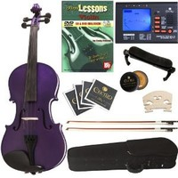 Cecilio 4/4CVN-Purple+SR+92D+FB1 Ebony Fitted Solid Wood Dark Purple Violin +Tuner, Bows, Shoulder Rest, Lesson Book+DVD (Full Size) - Dark Purple