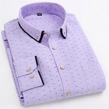 Spring Oxford Shirts Long Sleeve Casual Cotton Shirt Polka Dot Male Clothes Camisa Masculina Chemise