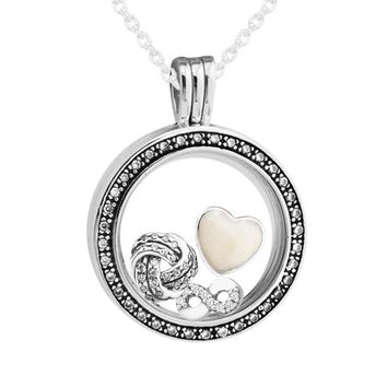 FANDOLA Genuine 925 Sterling-Silver-Jewelry Large Sparkling Locket Necklace Pendant and Infinite Love Petites Charm CKN028-11