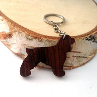 Cocker Spaniel Wooden Keychain, Dog Animal Keychain, Wooden Animal Keychain, Walnut Wood, Environmental Friendly Green materials