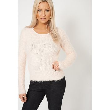 Fluffy Feel Knitted Peach Jumper