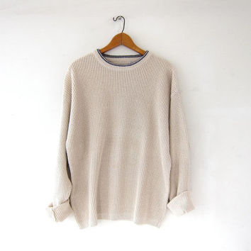 vintage cream sweater. textured knit sweater. boyfriend sweater. slouchy knit thermo pullover. preppy minimalist. long cream sweater.