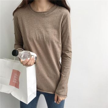 Basic Distressed Marl Tops Tees Women Raw Unfinished Long Sleeve Cotton Essential T Shirts Layering