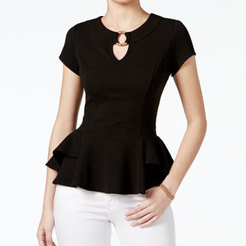 BCX Juniors' Jacquard Peplum Top - Juniors Tops - Macy's