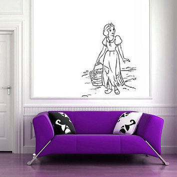 Wall Mural Vinyl Sticker Decal   girl dress bucket of water DA1083