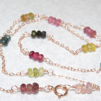 Tourmaline Choker, 14 Kt Rose Gold Wire Wrapped, AAA Gemstones, Rose Gold Necklace, Luxe AAA Jewelry
