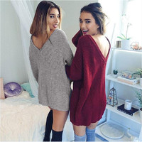 V-Neck Knit Sweater Dress Top