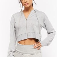 Active Heathered Cropped Hoodie Jacket