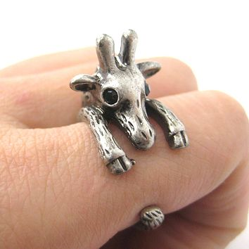 Adorable Giraffe Shaped Animal Wrap Ring in Silver | US Sizes 7 to 9