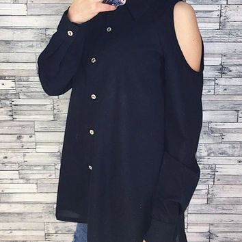 Black Plain Single Breasted Cut Out Turndown Collar Blouse