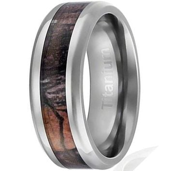 CERTIFIED 8MM Men's Titanium Ring Wedding Band | Camouflage Inlay | Beveled Edges