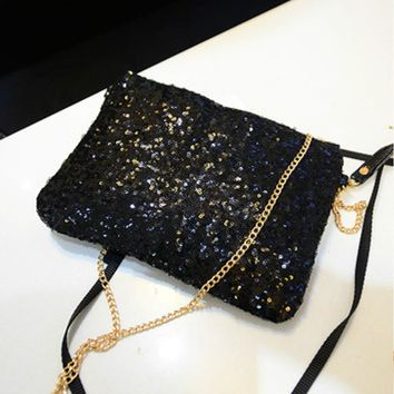 Women Rhinestone Sequin Evening Clutch Bag Shinning Ladies Day Clutch Purse Chain Handbag Bridal Wedding Party Bag Bolsa Mujer