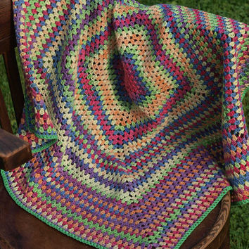 "Baby Blanket  Rainbow Crocheted Baby Blanket  32"" x 32""  Crocheted Blanket Afghan Blanket"