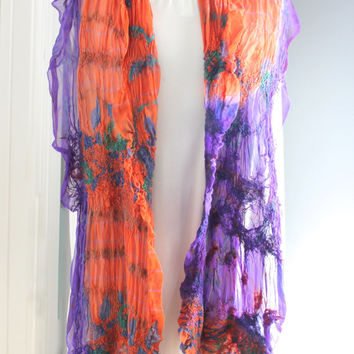 Purple and Burnt Orange Nuno Felted Silk Scarf, Upcycled Sari Silk, Lightweight Silk Scarf w/ Fringe, Organic Scarf, Ultra fine Merino Wool