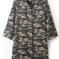 Camouflage Women Long Sleeve Long Sections Windbreaker,Cheap in Wendybox.com