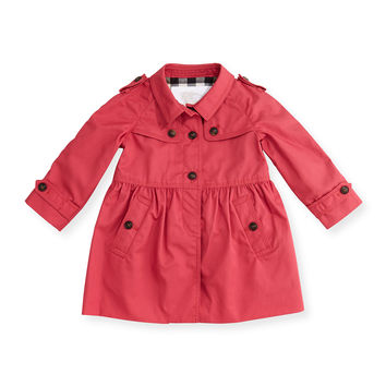 Skirted Melody Trenchcoat, Bright Rose, Size 3M-3Y,