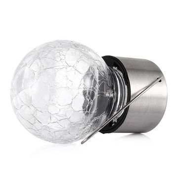 2pcs Solar Powered Crackle Glass Ball LED Light Lamp