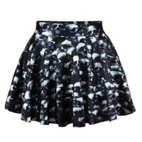 XMAS Gift Retro Vintage Rockability Skater Skull Digital Print Bottom Skirt (Size: M, Color: Multicolor) = 1947040324