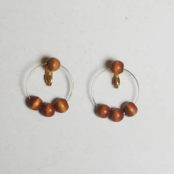 Lightweight Clip On Hoop Earrings, Wide, Wood Beads, Thin Wire, Hippie Jewelry, Boho Hoop Earrings, Never Worn, Vintage 80s, Costume Jewelry