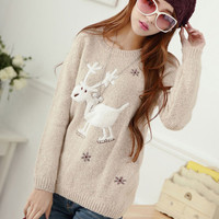 Deer Snowflake Printed Knit Sweater