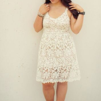 Keep Them Looking Sleeveless Crochet Lace Fit and Flare Dress - Cream