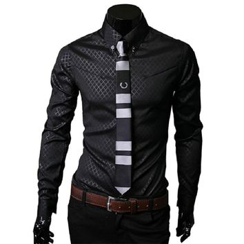 Textured Slim Business Formal Shirt for men up to Size 5XL