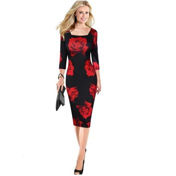 Red fashion collar collar high waist seven sleeves rose print dress dress sexy knee knee female pencil dress