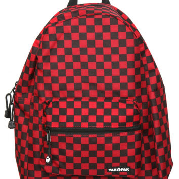 Yak Pak Black And Red Checkered Backpack
