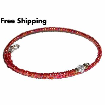 Red Carnival Glass Beaded Artisan Crafted Stackable Wrap Bracelet (S-M)