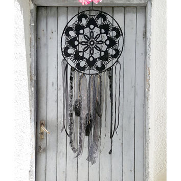 Giant Black Gold dream catcher, Extra Large Black Crochet Boho Dreamcatcher, Black Mandala, Bohemian Lace Dream catcher, Doily dream catcher